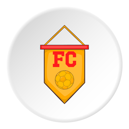 pennant: Yellow pennant with soccer ball icon. Cartoon illustration of pennant with soccer ball vector icon for web