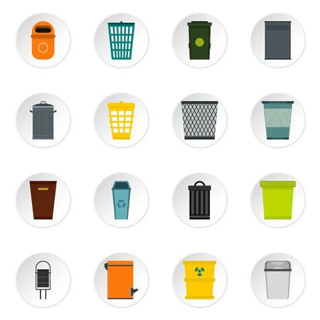 trashing: Trash can and recycle bin icons set. Flat illustration of 16 trash can and recycle bin vector icons for web