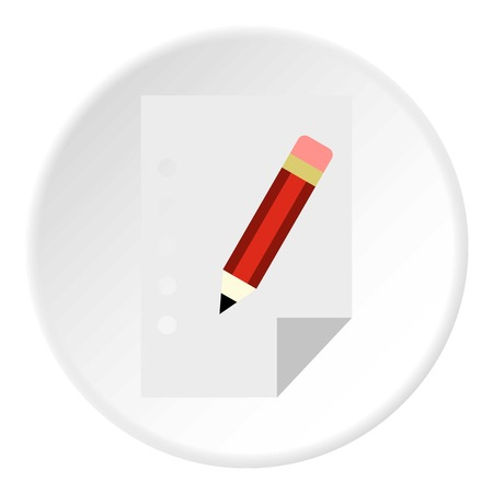 Paper and pencil icon. Flat illustration of pencil vector icon for web design