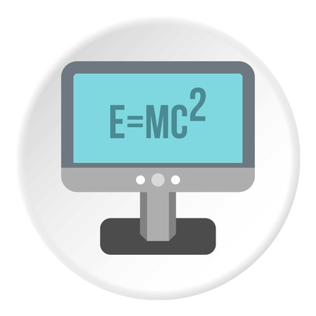 relativity: Monitor with the theory of relativity formula icon. Flat illustration of monitor vector icon for web design