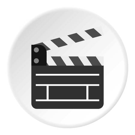 film title: Movie clapper icon. Flat illustration of clapperboard vector icon for web design