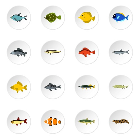 freshwater clown fish: Fish icons set. Flat illustration of 16 fish vector icons for web