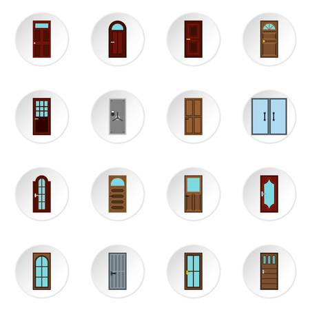 double entry: Door icons set. Flat illustration of 16 door vector icons for web