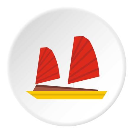 junk boat: Vietnamese junk boat icon. Flat illustration of vietnamese junk boat vector icon for web Illustration