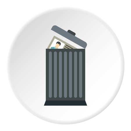 expel: Summary in trash icon. Flat illustration of summary in trash vector icon for web