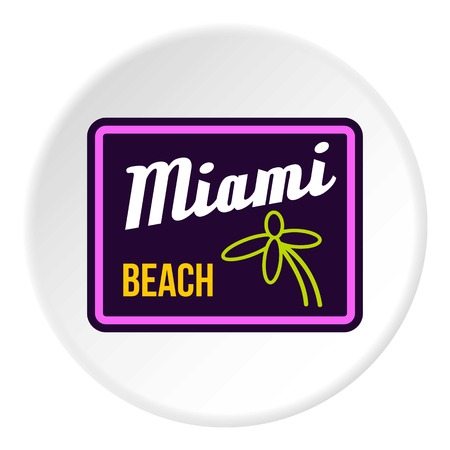 miami: Road sign Miami beach icon. Flat illustration of road sign Miami beach vector icon for web Illustration