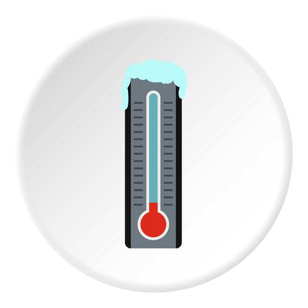low temperature: Thermometer with low temperature icon. Flat illustration of thermometer with low temperature vector icon for web