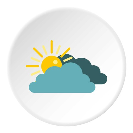 behind: Sun behind clouds icon. Flat illustration of sun behind clouds vector icon for web