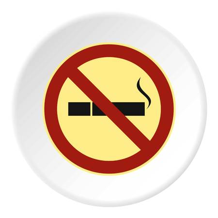 prohibido: Smoking is prohibited icon. Flat illustration of smoking is prohibited vector icon for web Vectores