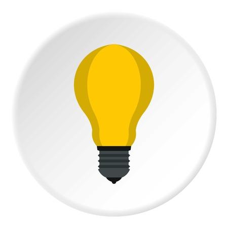 Lamp with yellow light icon. Flat illustration of lamp with yellow light vector icon for web