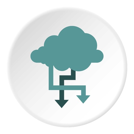 storing: Storing files in cloud icon. Flat illustration of storing files in cloud vector icon for web