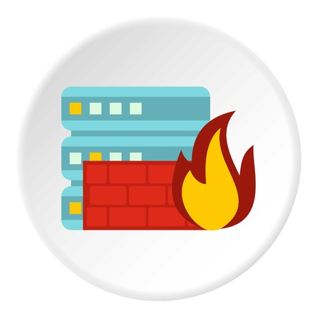 Fire protection in file store icon. Flat illustration of fire protection in file store vector icon for web Illustration