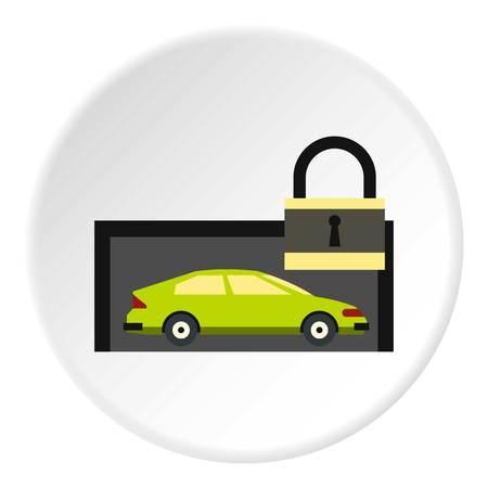 La voiture est sous la protection de l'icône. illustration plat de voiture est sous la protection icône vecteur pour le web