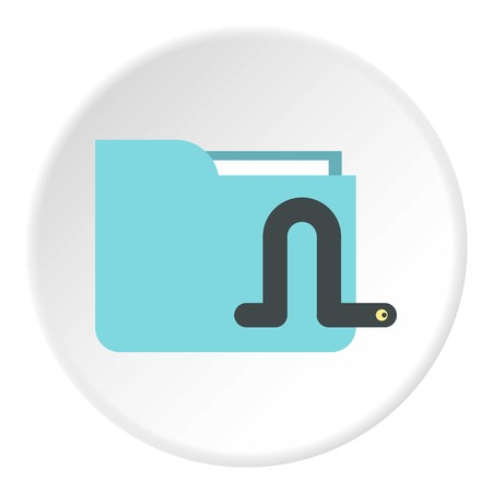Worm in e-mail icon. Flat illustration of worm in e-mail vector icon for web