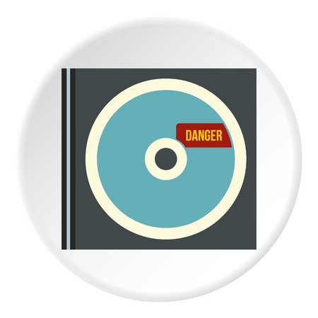 disk break: Disk with virus icon. Flat illustration of disk with virus vector icon for web Illustration