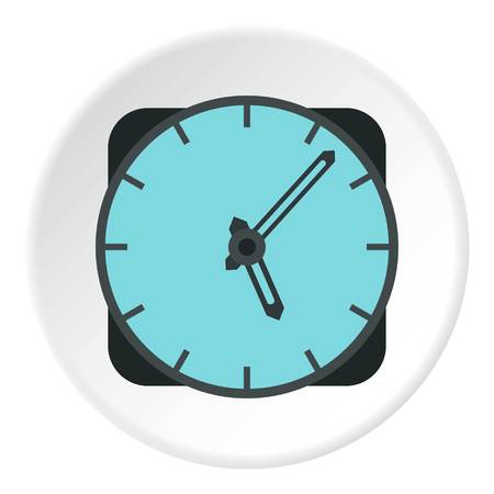 wall mounted: Wall mounted round clock icon. Flat illustration of wall mounted round clock vector icon for web