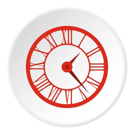 numeros romanos: Reloj redondo con el icono de los números romanos. ilustración plana del reloj redondo con números romanos icono de vectores para la web