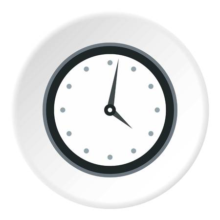 wall mounted: Wall mounted round mechanical watch icon. Flat illustration of wall mounted round mechanical watch vector icon for web