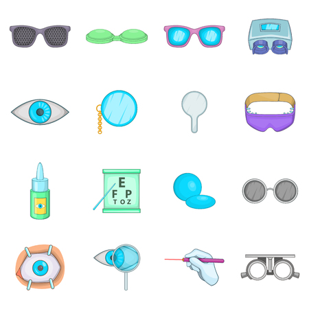 ophthalmologist: Ophthalmologist icons set. Cartoon illustration of 16 Ophthalmologist vector icons for web