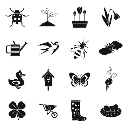 bugs bunny: Spring icons set. Simple illustration of 16 spring vector icons for web