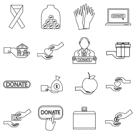 sheltering: Charity icons set. Outline illustration of 16 business plan vector icons for web Illustration