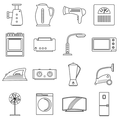 appliances icons: Household appliances icons set. Outline illustration of 16 household appliances vector icons for web