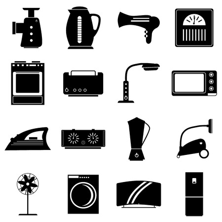 appliances icons: Household appliances icons set. Simple illustration of 16 household appliances vector icons for web