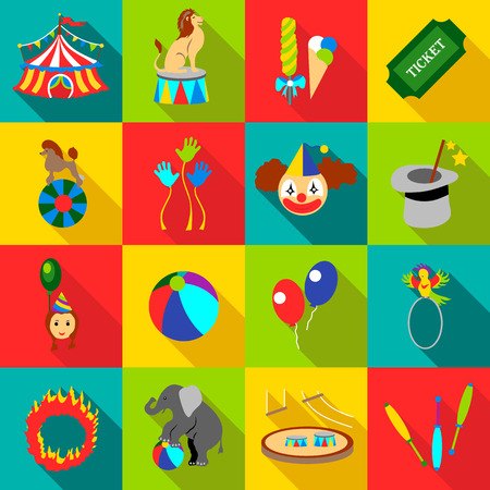 trapeze: Circus icons set. Flat illustration of 16 circus vector icons for web
