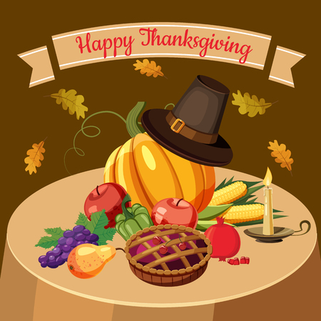 mountain cranberry: Thanksgiving Day concept. Cartoon illustration of Thanksgiving Day concept for web Illustration