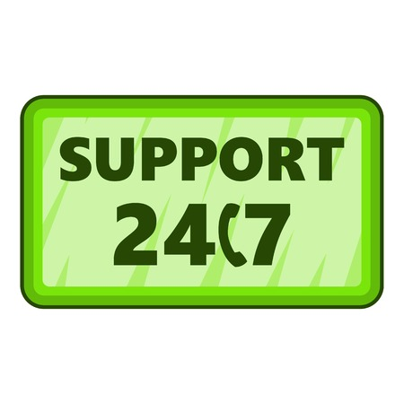 all day: All day support icon. Cartoon illustration of all day support vector icon for web