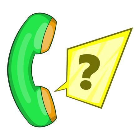 Green handset icon. Flat illustration of green handset vector icon for web