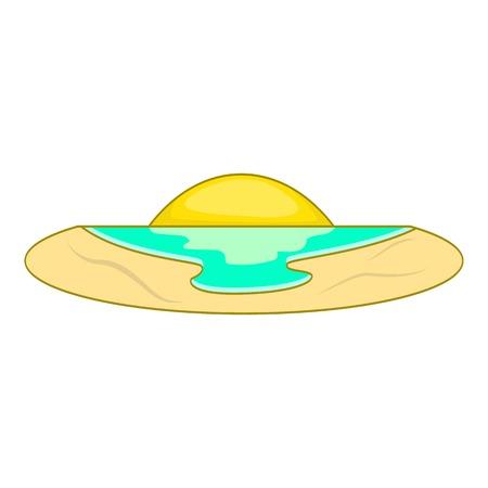 sun beach: Sunset icon. Flat illustration of sunset vector icon for web