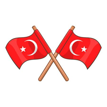rightness: Turkey crossed flags icon. Cartoon illustration of Turkey flags vector icon for web design