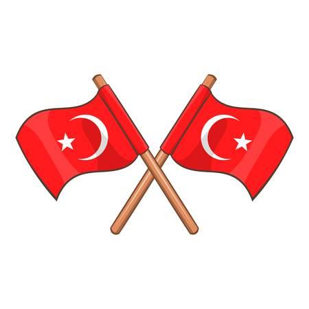 Turquie drapeaux croisés icône. Cartoon illustration de la Turquie drapeaux vecteur icône pour la conception web Vecteurs