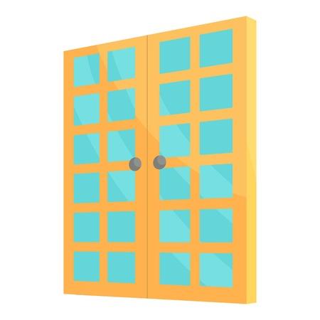 double entry: Double room door icon. Cartoon illustration of door vector icon for web design