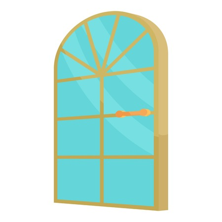 arched: Arched glass door icon. Cartoon illustration of door vector icon for web design