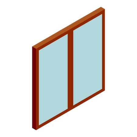 double glass: Double glass door icon. Cartoon illustration of door vector icon for web design