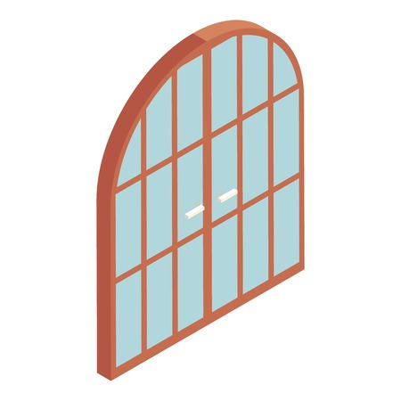 double entry: Arched double door icon. Cartoon illustration of door vector icon for web design Illustration