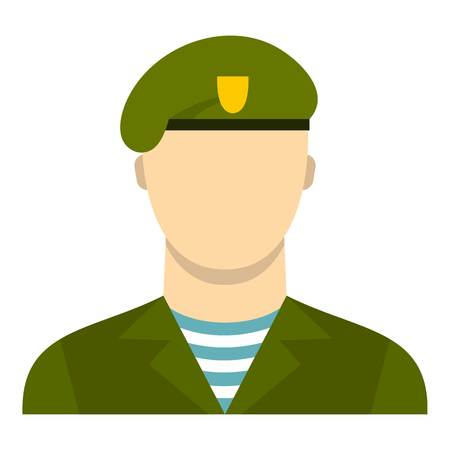 Army soldier icon. Flat illustration of soldier vector icon for web design Illustration