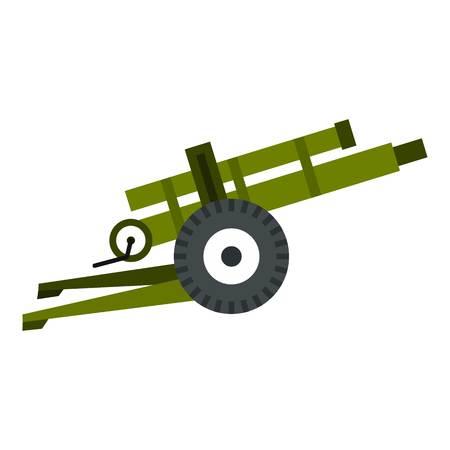 armory: Artillery gun icon. Flat illustration of artillery gun vector icon for web design