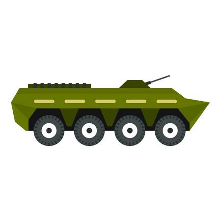 armoured: Armoured troop carrier icon. Flat illustration of armoured troop carrier vector icon for web design