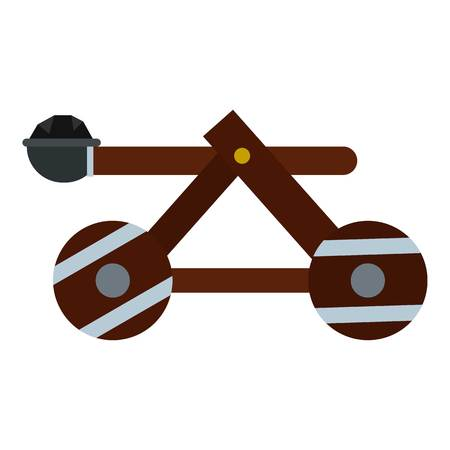 Medieval siege catapult icon. Flat illustration of catapult vector icon for web design Illustration