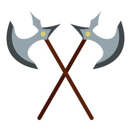 Medieval battle axe icon. Flat illustration of axe vector icon for web design Vetores