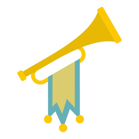 pomp: Trumpet with flag icon. Flat illustration of trumpet vector icon for web design Illustration