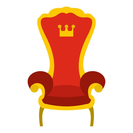 Red royal throne icon. Flat illustration of throne vector icon for web design