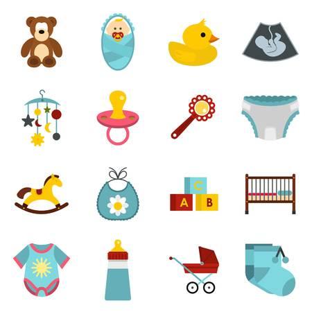 horse care: Newborn icons set. Flat illustration of 16 newborn vector icons for web