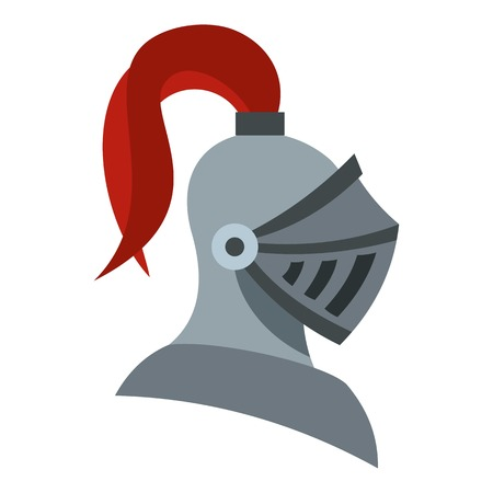 Medieval knight helmet icon. Flat illustration of helmet vector icon for web design Ilustrace