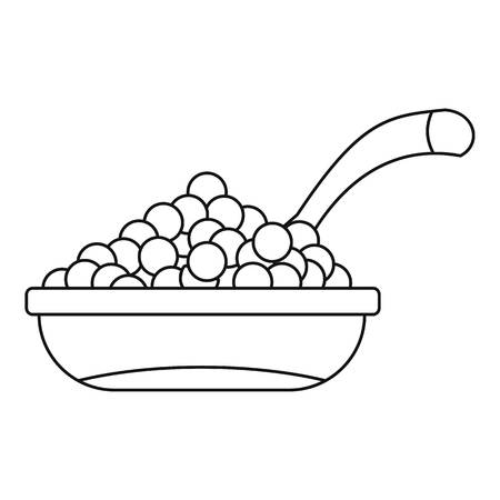 expensive food: Bowl red caviar icon. Outline illustration of bowl of caviar vector icon for web Illustration