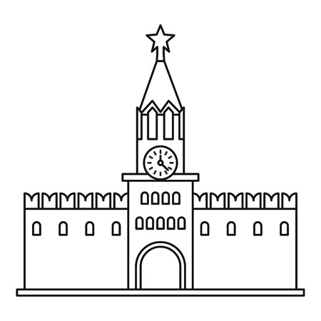 spasskaya: Spasskaya tower of Moscow Kremlin icon. Outline illustration of Moscow Kremlin vector icon for web