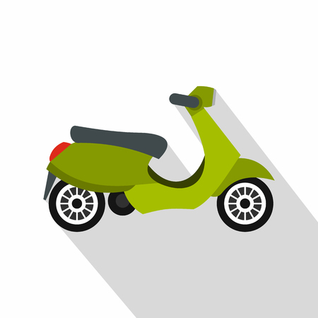 Green scooter icon. Flat illustration of green scooter vector icon for web isolated on white background Illustration